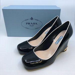 Women's Prada Calzature Donna Leather Wedges 39.5